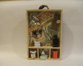 Mixed Media Assemblage Shadow Box with Vintage Items