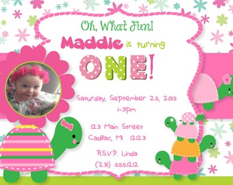 Photo First Birthday Invitation - Turtles 1st Birthday Invitation - Photo Birthday Party Invitation