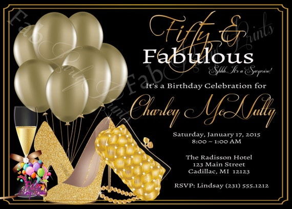 Womens 50th Birthday Invitation Adult 50th Birthday Party