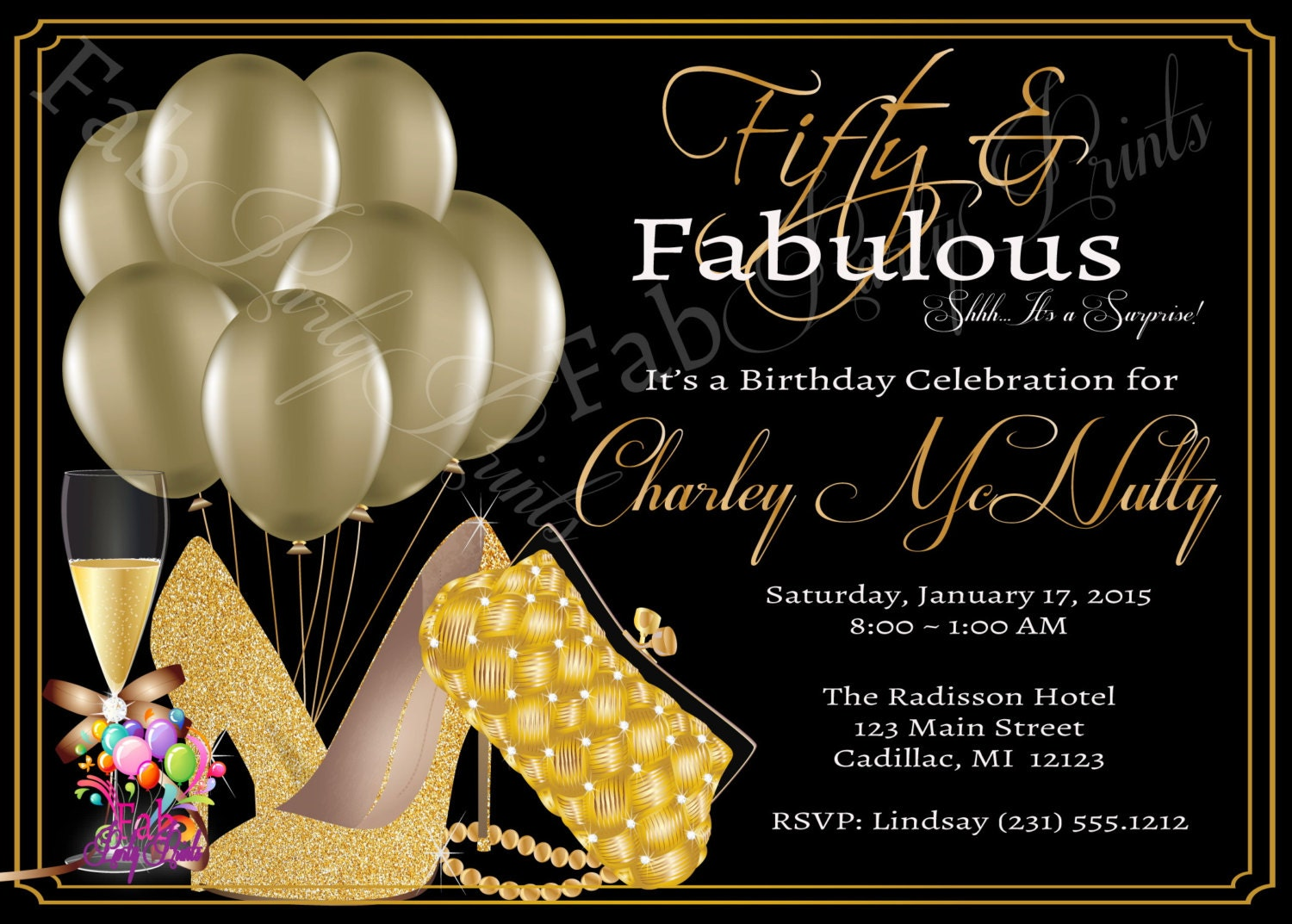 50th adult birthday invitation party