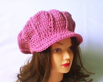 Women newsboy hat, newsboy beanie, newsboy knit cap, crochet newsgirl hat, crochet hat with brim, pale rose, visor beanie, wife photo gift