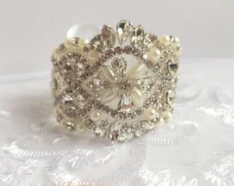 Luxury vintage style crystal and pearl bracelet/cuff, bride cuff, ivory pearl bracelet