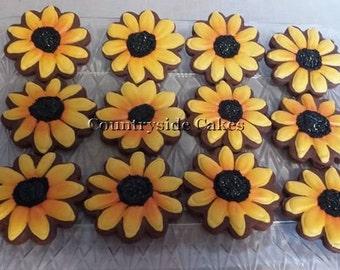 """Sunflower Decorated sugar cookies 3"""" -1 dozen"""
