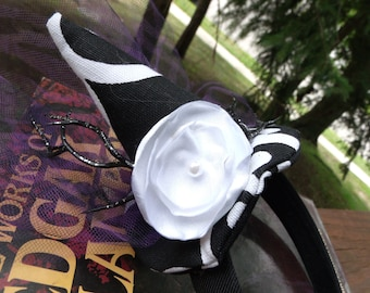 Witch Hat Halloween Hairband in Black & Purple with Handmade Flower