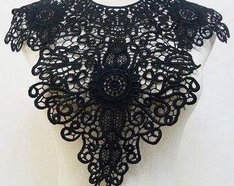 Black Collar ,Flower Lace Appliques, Embroidery Hollowed Out Trim Collar Flower 1pcs  E8084