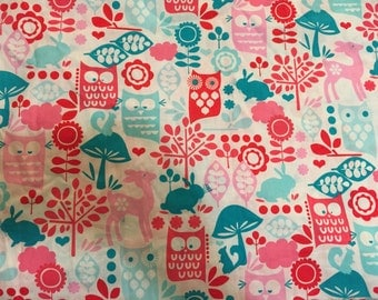 1 3/4 yards of Michael Miller Forest Life Aqua Fabric