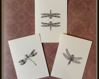 Set of 12 Handmade Blank Dragonfly Print Note Cards