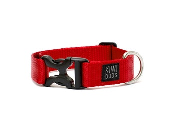 24/7 COLLECTION - Tuesday morning red polyamide webbing buckle dog collar with YKK plastic hardware