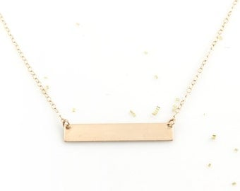 Gold Bar Necklace, Custom Name Necklace, Personalized Bar Necklace, Roman Numeral Necklace, Gift for Girlfriend