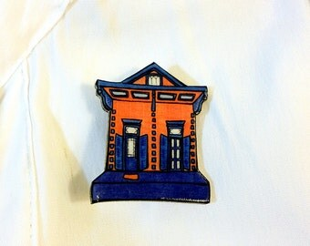 New Orleans Shotgun House in Blue and Orange – Mazant St. Pin