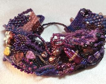 Shades of Purple Freeform Peyote Bracelet