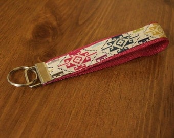 Multicolored tribal fabric keychain/keyfob/wristlet