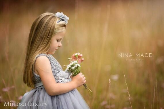 Silver Gray Grey Flowergirl dress, tutu dress, bridesmaid dress, princess dress, silk crochet top tulle dress, hand knit silk top tutu dress