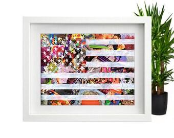 American Flag wall Art, Mixed Media Collage Art, Bohemian Decor, Patriotic Decor, Flag Wall Art, American Flag Decor