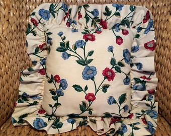 Vintage Square PILLOW Floral With Ruffle, Toss Pillow, Cushion, Shabby Chic, Flowers