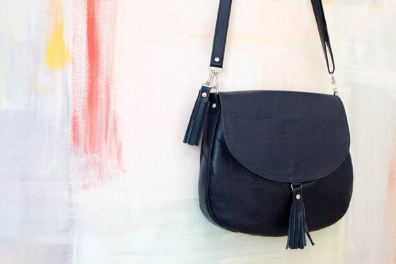Navy Blue Leather Crossbody Bag 43