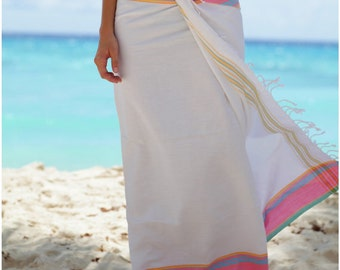 African Kikoy - Beach Kikoi Wrap / Sarong (White)