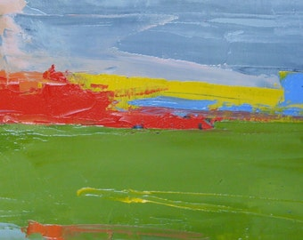 ABSTRACT RED, ANGLESEY. Original Oil Painting, on panel.