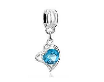 Aquamarine Charm, Dangle Bead, Large Hole Bead, European Bead, Charm Bead, Add a Bead, Charm Bracelet, European Charm, Big Hole Bead, Blue