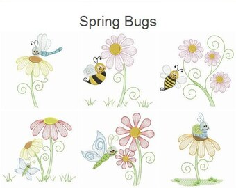 Spring Bugs Machine Embroidery Designs Instant Download 4x4 5x5 6x6 hoop 10 designs SHE5053