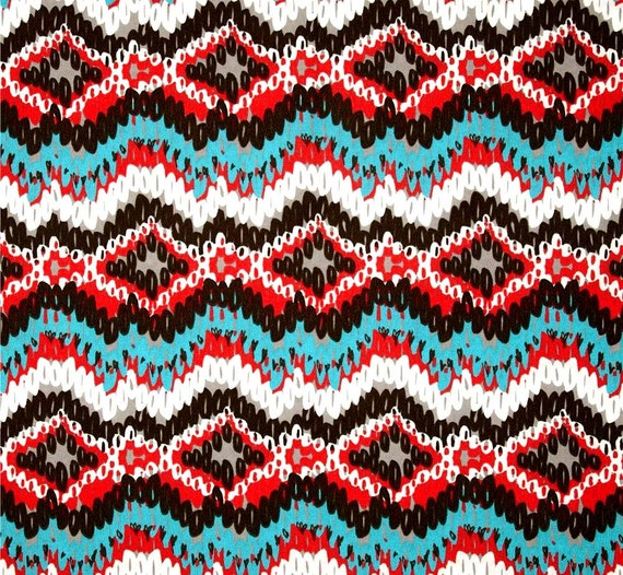 Indoor Outdoor Southwest Brown Red Blue Fabric by by