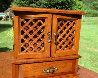 Small Jewelry Cabinet Vanity 3 Drawers Trinkets Sweet Vintage