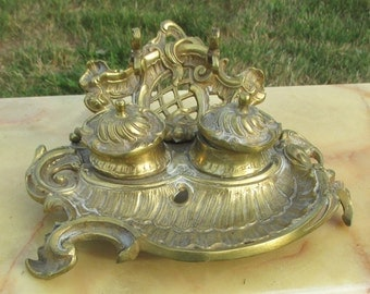 Gorgeous Antique Brass Double Inkwell Ornate Pen Holder