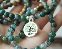 Moss Agate Picture Jasper 108 Mala Beads Yoga Necklace Tree Of Life Mala - Everything About Nature and Meditation