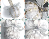 2 Silver and gold Christmas ornaments, festive decorations, Christmas bauble, Christmas tree decorations, holiday decorations,Christmas tree