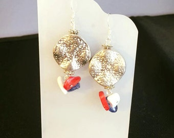 Patriotic silver coin earrings