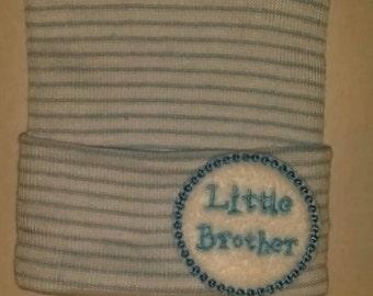 Baby Hospital Hat. LITTLE Brother. Newborn Hospital Hat. Newborn Beanies.