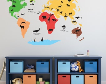 World Map with Animal Silhouettes Wall Decal World  Atlas Vinyl  Wall Decor