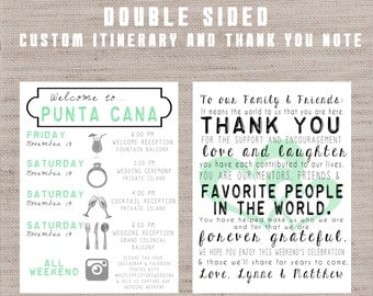 Wedding Gift List Thank You Message : destination wedding welcome bag letters and guest itinerary timeline ...