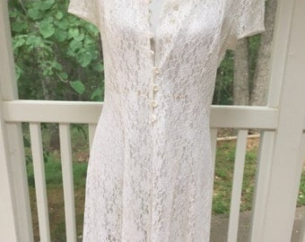 California-made white lace vintage dress