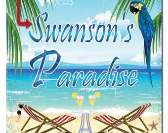 Personalized Paradise Beach Hardboard Wall Sign