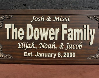 Family Name Sign Anniversary Gift First and Last Name Sign Carved Wood Sign Personalized Sign Established Family Name Sign Established Sign