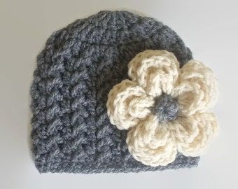 Newborn girl hat, crochet baby hat, baby girl hat, newborn beanie, crochet flower hat, gray baby girl hat, girl take home outfit