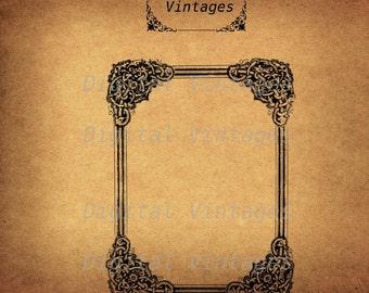 Vintage Ornate Decorative Frame Border Illustration Antique Digital Image Download Printable Clip Art  Prints 300dpi jpg png svg