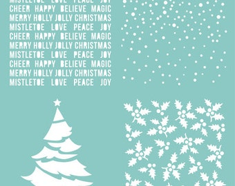 "12"" x 12"" Christmas template / stencil featuring 4 Christmas themed patterns"