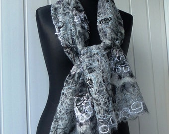 Gray Black & White  handmade shawl , openwork shawl , for women