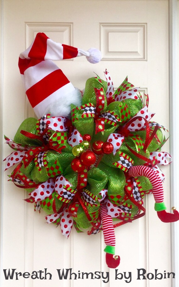 Xl Deco Mesh Holiday Elf Wreath In Lime Green Red With Hat