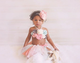 Baby tutu dress, birthday, photoprop, crochet tutu top, take home outfit, vintage, cake smash, shabby chic, baby shower gift