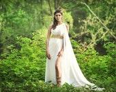 Greek Goddess One Shoulder Ivory Chiffon Formal Dress NO GOLD