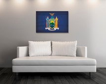 Vintage New York  Canvas Print, New York  Flag,  New York  Flag Art, New York  Wall Art, Wall Decor, State Poster, Decor [PP034-C]
