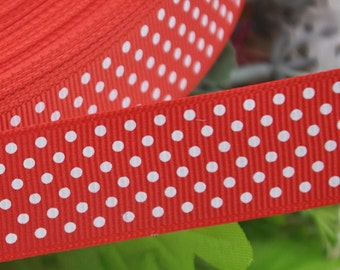 """5Y 1"""" (25mm)Wide Red With White Dots Grosgrain Ribbon for Bow Flower Making"""