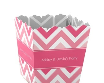 Chevron Pink Custom Small Candy Boxes - Personalized for Baby Showers, Birthday Parties, and Bridal Shower Party Supplies - Set of 12
