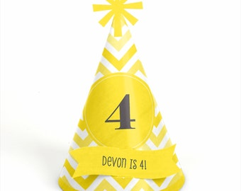 8 Chevron Yellow Birthday Party Hats - Personalized Birthday Party Supplies - Set of 8