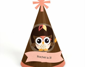 8 Owl Girl Birthday Party Hats - Personalized Birthday Party Supplies - Set of 8