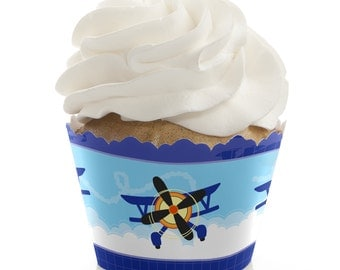Airplane Cupcake Wrappers - Baby Shower or Birthday Party Cupcake Decorations - Set of 12