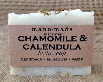 Chamomile and Calendula Soap, All Natural, Unscented, Vegan, made with Organic Tea, Dried Flowers